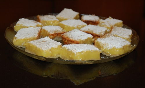 Yummy Meyer Lemon Bars, waiting until after dinner (ha!).