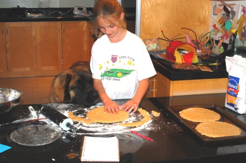 Emma and Guthrie, making the crust together.
