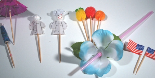 These are some of the cute toothpicks I use to skewer pieces of fruit and cheese (Emma particularly likes boccacini, which works beautifully). Sometimes, instead of the teapot, I serve the pink lemonade in champagne glasses with plastic flower ice cubes and the pretty flower straw.